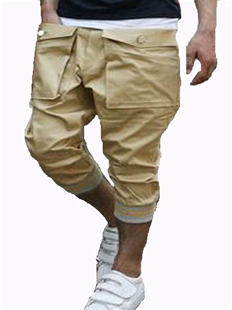 Big Pocket Shorts new mens cargo big pocket casual shorts khaki 100 cotton