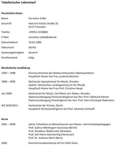 Lebenslauf Tabellarisch Schriftgroße Tabellarischer Lebenslauf Volke Seite 1 10 2010 Doc Cornelius Volke