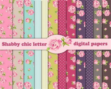 12inch Scrapbook Paper 36b 12 shabby chic digital scrapbook papers 8 5x11 inch for invites letters card