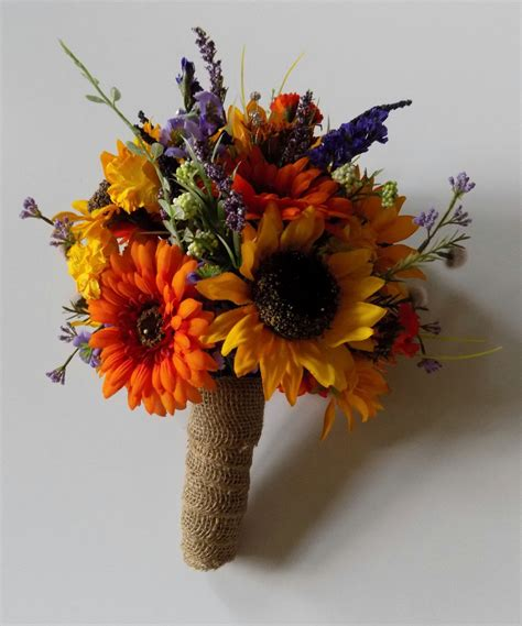 With Bouquet by Wildflower Wedding Bouquet Sunflower Bridal Bouquet
