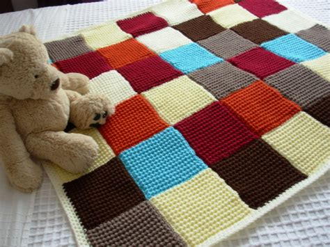 Patchwork Knitted Blanket - knitted patchwork blanket quilt throw folksy