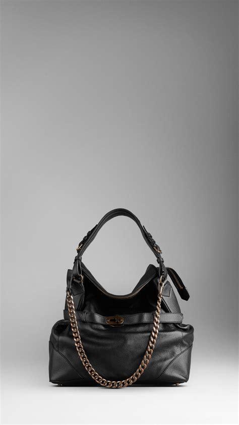 Burberry Brit Grainy Hobo Vl10228 burberry large grainy leather hobo bag in black lyst