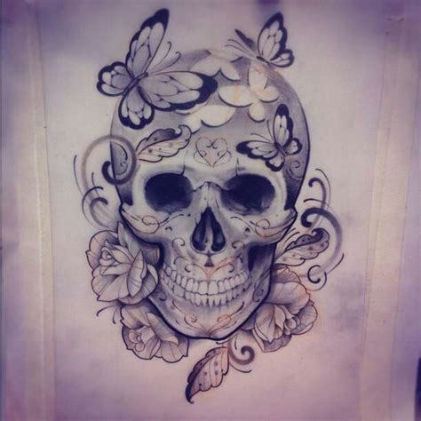 butterflies and skull tattoo design