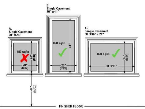minimum window size for basement bedroom egress door height