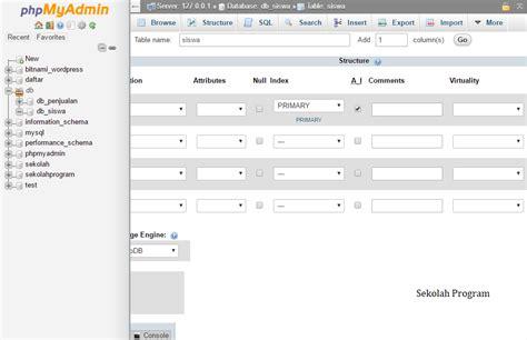 membuat database mysql dengan phpmyadmin cara membuat database dan tabel mysql dengan phpmyadmin