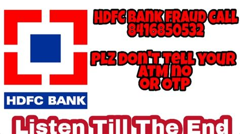 Hdfc Bank Fraud Call 8416850532 Isi Listen Till The End