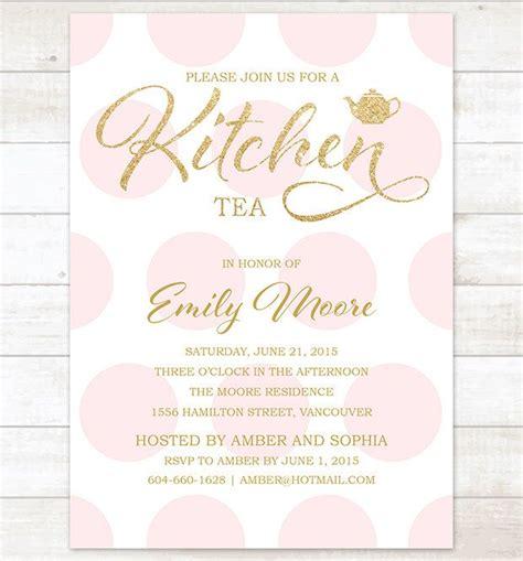 kitchen tea party invitation ideas gold pink kitchen tea invitation pink polka dots gold