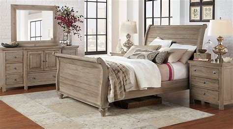 rooms to go bedroom sets summer grove gray 5 pc king sleigh bedroom king bedroom