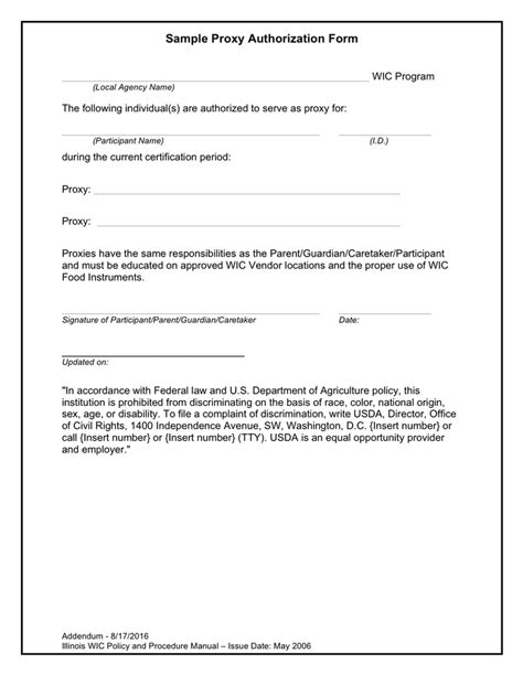 sample proxy authorization form word formats