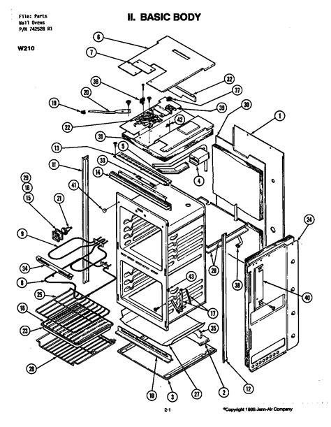 jenn air oven parts diagram diagram parts list for model w215 jenn air parts