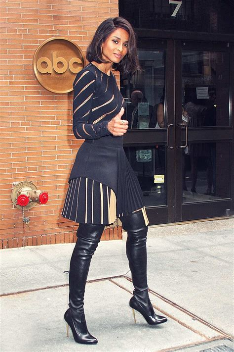 ciara arriving at the abc studios leather