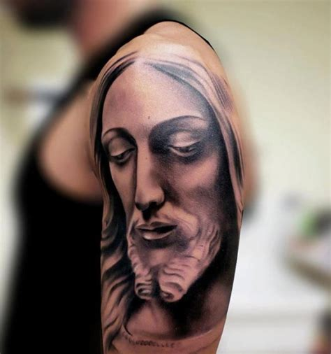 jesus face tattoos 59 jesus designer shoulder tattoos
