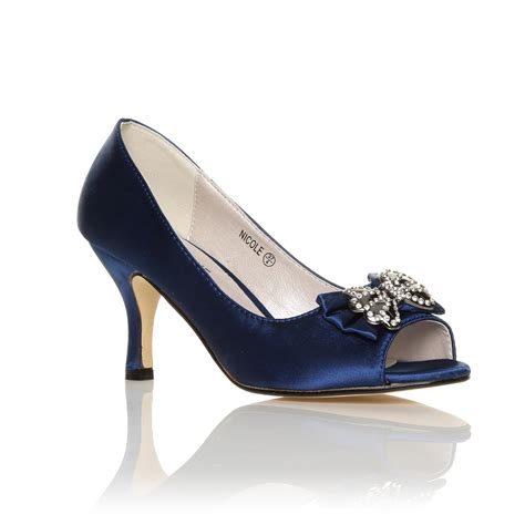 Navy Bridal Heels by Ivory White Navy Satin Low Heel Bridal Prom Peep Toe