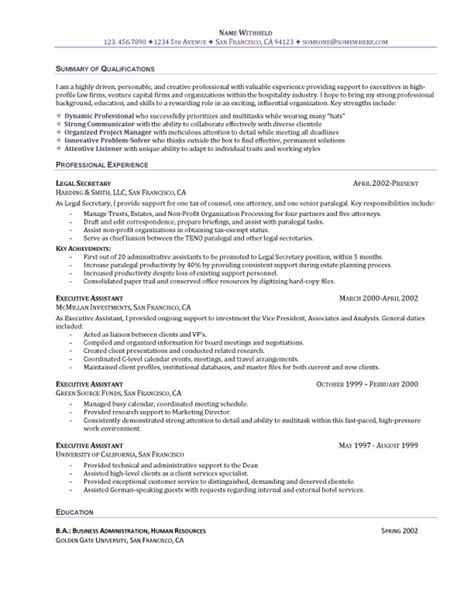 Resume Summary Statement Executive Assistant The Executive Assistant Resume Recentresumes