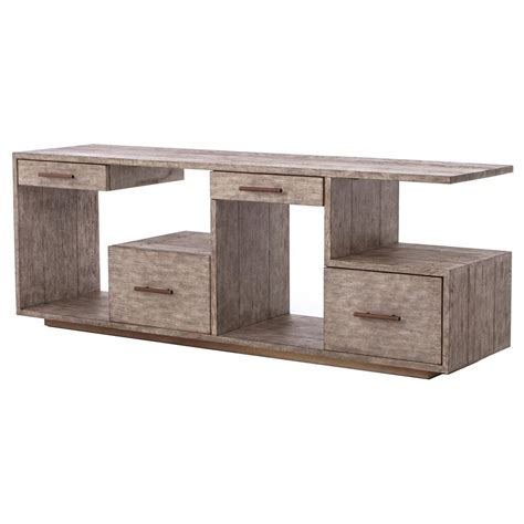 weathered gray console arrick industrial loft grey weathered open shelf console