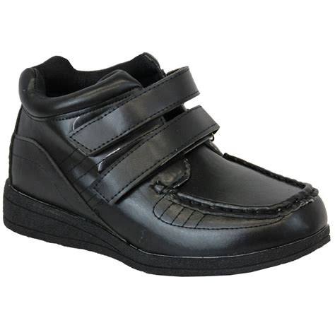 boys school shoes velcro hi top boots youth formal