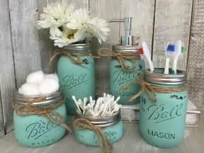 mason jar bathroom vanity set set of 5 jars seaglass bathroom accessories set bathroom design ideas 2017