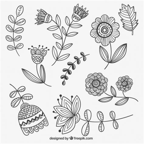 free doodle flowers free vector flowers 12996 my graphic hunt