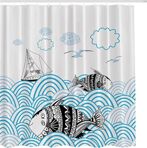asian inspired curtains morethancurtains asian inspired quot ocean with fish quot fabric
