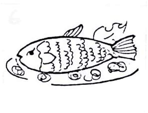 cooked fish coloring pages fried fish drawing