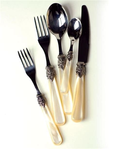 beautiful flatware beautiful set of 5 pieces faux of pearl steel silverware made in italy flatware