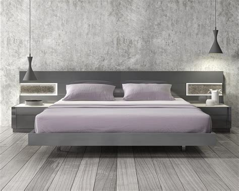 modern bed furniture lacquered stylish wood elite platform bed with long panels