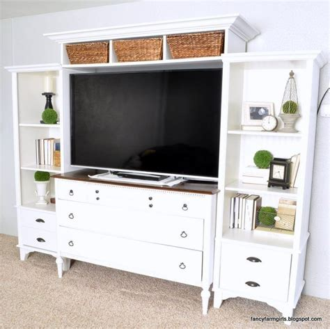 turning an dresser and bookshelves into a media center