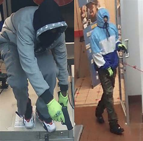 police searching  dominos pizza armed robbery suspects caught  camera