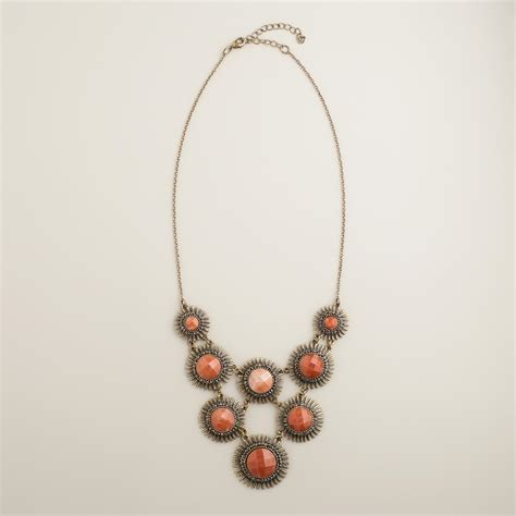 coral and gold statement necklace world market