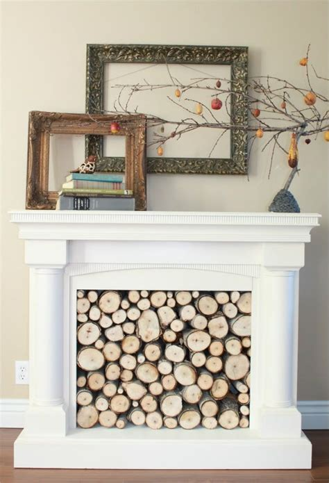 wood filled faux fireplace fireplaces