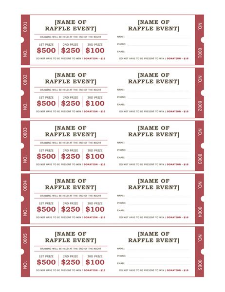 Raffle Tickets Ticket Booklet Template