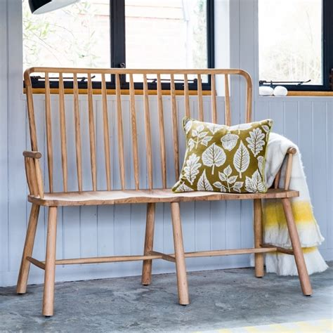 oak bench with back alpine contemporary spindle back oak loveseat bench hall