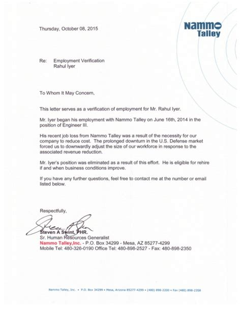 Reference Letter For Existing Employee recommendation from most current employer in metro