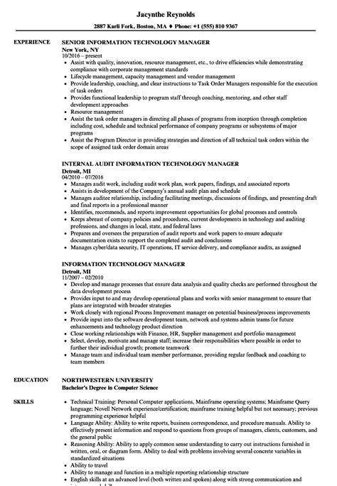 Information Technology Manager Resume by Information Technology Manager Resume Sles Velvet