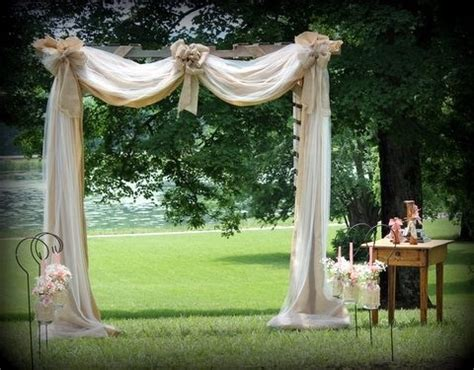 Wedding Arbor With Tulle by Arbor Built From Pallets Draped With Burlap And Tulle
