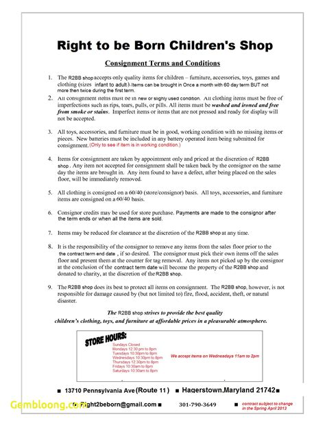 clothing consignment agreement template lovely consignment agreement template best templates
