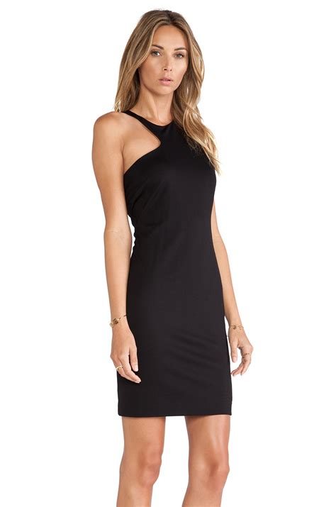 Assymetric Black Dress heritage asymmetric neck dress in black lyst