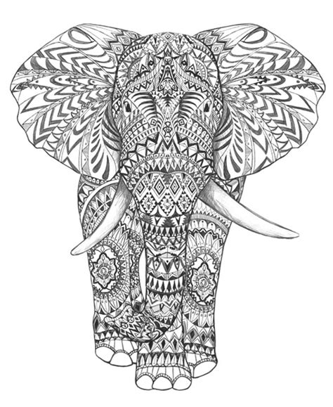 psychedelic elephant coloring pages aztec elephant hand drawing detail graphic art hand
