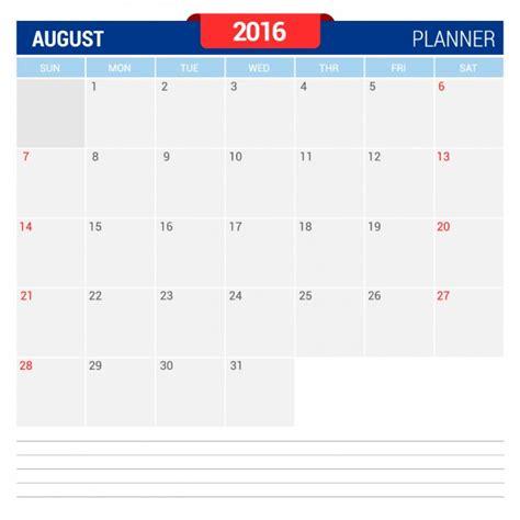 Agosto Calendario Calendario Agosto 2016 Descargar Vectores Gratis