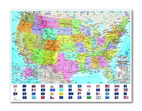 map usa rolled u s advanced political laminated rolled map 031950