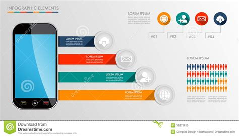 Global House Plans Infographic Mobile Diagram Icons Illustration Stock Photo