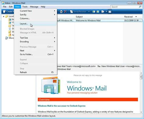 outlook layout email preview disable preview pane in windows mail or outlook express