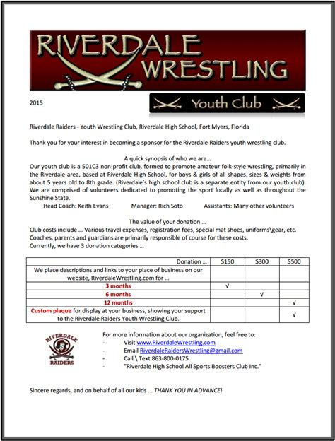 Donation Letter For High School Sports Youth Club Riverdale