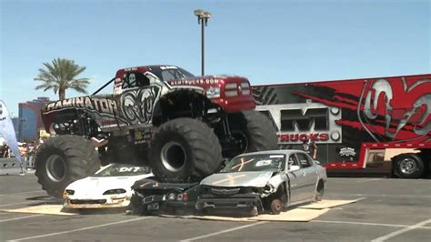 videos of monster trucks crushing cars raminator monster truck crushes cars youtube