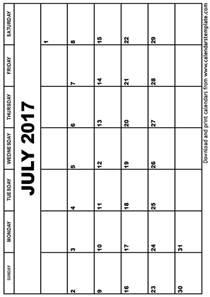 Printable July 2017 Calendar July 2017 Calendar Template