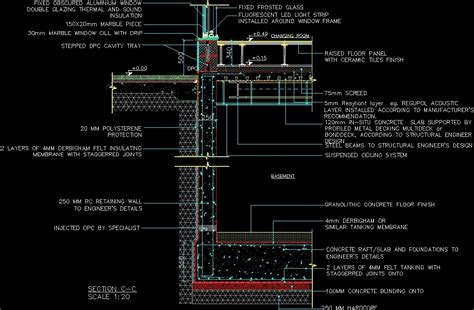 section dwg basement tank raised floor wall and window section dwg