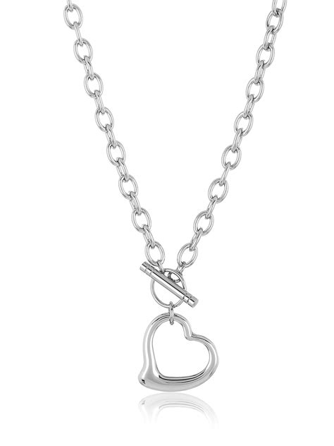 Coastal Jewelry - Stainless Steel Cable Chain Open Heart