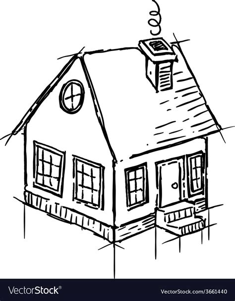 Black And White Sketch Of Small House Royalty Free Vector Vector Image Black White Sketch