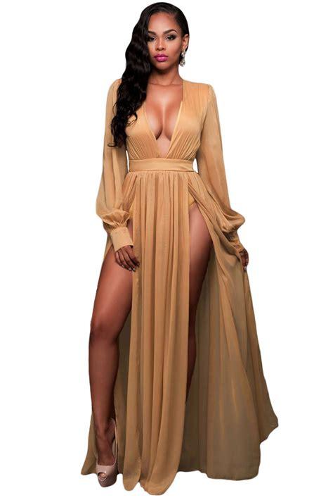 Stylish Costume Of The Day Goddess by Wholesale Shimmer Mocha Slit Goddess Dress