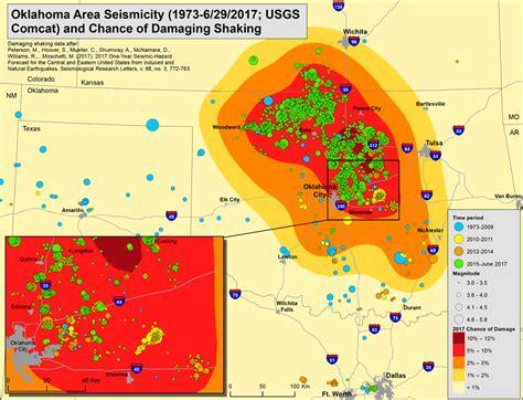 earthquake mp information by region oklahoma